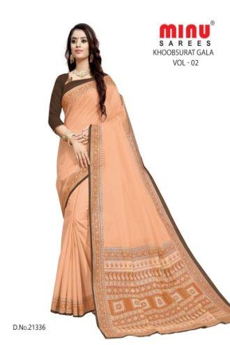 Minu Salmon Cotton Single Printed Border Saree Sarees