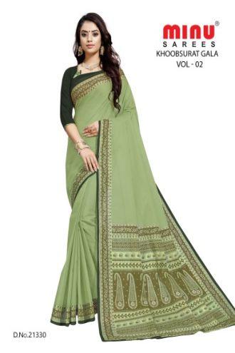 Minu Green Cotton Single Printed Border Saree Sarees