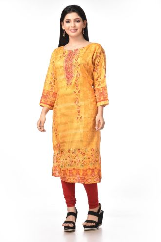 Minu Yellow Pure Cotton With Embroidery Work Kurti