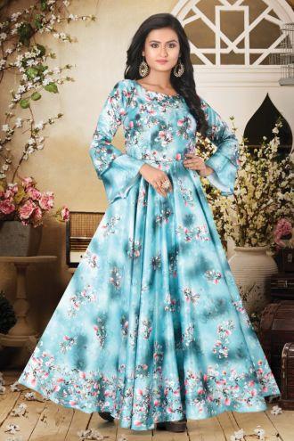 Minu Blue Designer Digital Print Crepe Fabric Floral Print F Gown