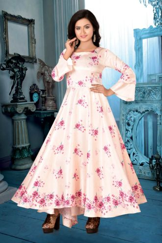 Minu Almond Designer Digital Print Crepe Fabric Floral Print F Gown