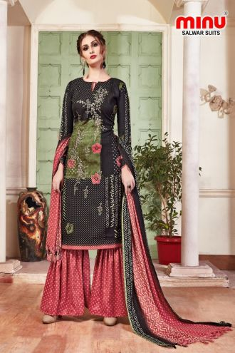 Minu Black Pashmina Fabric Winter Wear Exclusive Collection Salwarsuit