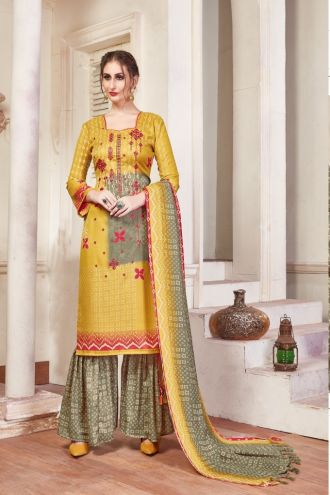 Minu Yellow Pashmina Fabric Winter Wear Exclusive Collection Salwarsuit