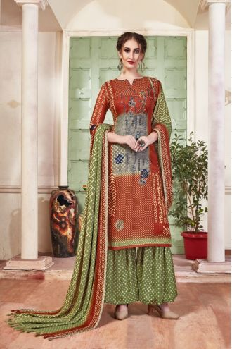 Minu Brown Pashmina Fabric Winter Wear Exclusive Collection Salwarsuit