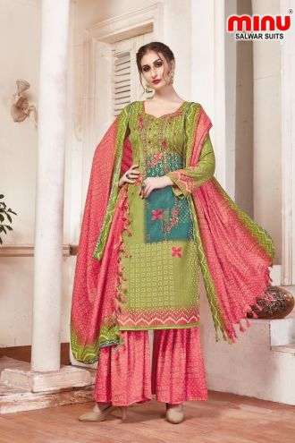 Minu Green Pashmina Fabric Winter Wear Exclusive Collection Salwarsuit