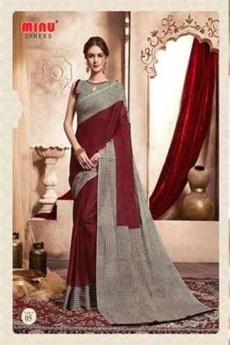 Minu Marron Handloom New Designer Check Printed Puja Special Sarees