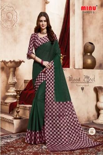 Minu Green Handloom New Designer Check Printed Puja Special Sarees