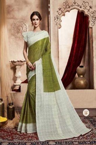 Minu Green Handloom New Designer Check Printed Puja Special Sarees