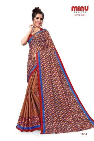 Minu Khakee Cotton Printed Designer Saree By Minu Sarees
