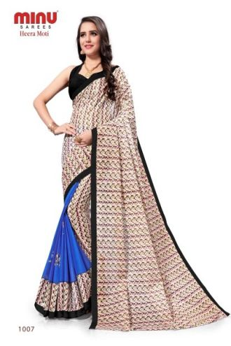 Minu Blue Cotton Printed Designer Saree By Minu Sarees