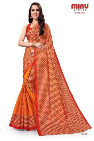 Minu Orange Cotton Printed Designer Saree By Minu Sarees