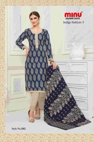 Minu Blue Cotton Printed Indigo Pattern Unstitched Salwar Salwarsuit