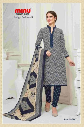 Minu Grey Cotton Printed Indigo Pattern Unstitched Salwar Salwarsuit