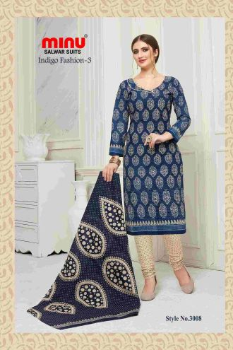 Minu Blue Cotton Printed Indigo Pattern Unstitched Salwar Salwarsuit