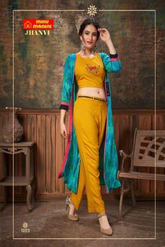 Minu Yellow Premium Rayon Crop Top With Plazo And Long Jacket Kurti