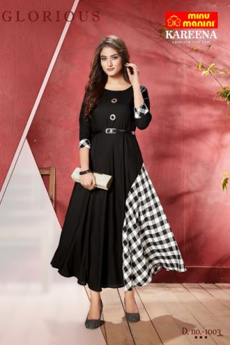 Minu Black Long Stylist Premium Rayon Kurti With Designer Bel Kurti