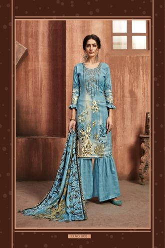 Minu Blue Winter Wear Pashmina Fabric Party Wear Unstitched Salwarsuit