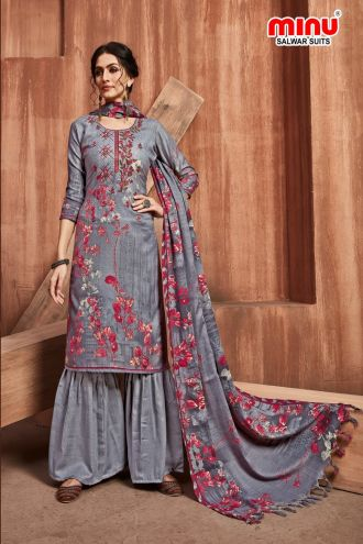 Minu Grey Winter Wear Pashmina Fabric Party Wear Unstitched Salwarsuit