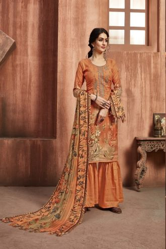 Minu Orange Winter Wear Pashmina Fabric Party Wear Unstitched Salwarsuit