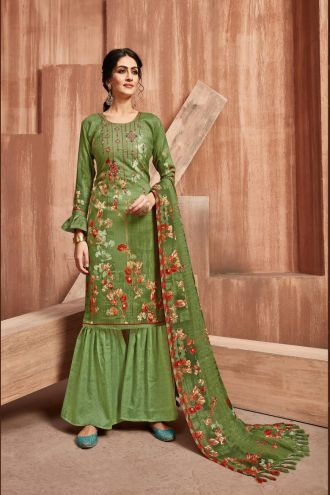 Minu Green Winter Wear Pashmina Fabric Party Wear Unstitched Salwarsuit