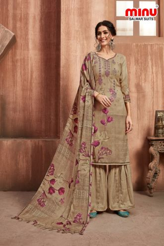 Minu Khaki Winter Wear Pashmina Fabric Party Wear Unstitched Salwarsuit