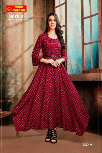 Minu Rose Red Premium Rayon Fabric Long Stylish With Fashionable Kurti