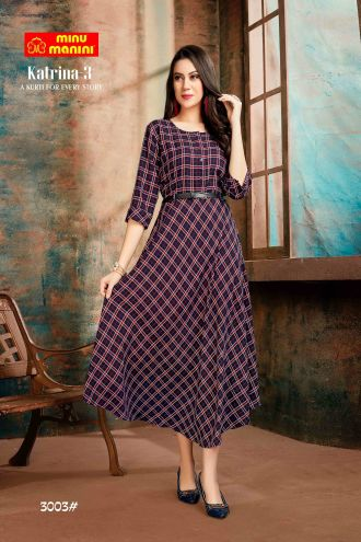 Minu Black And Indigo,Multi Premium Rayon Fabric Long Stylish With Fashionable Kurti
