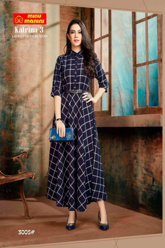 Minu Dark Blue Premium Rayon Fabric Long Stylish With Fashionable Kurti