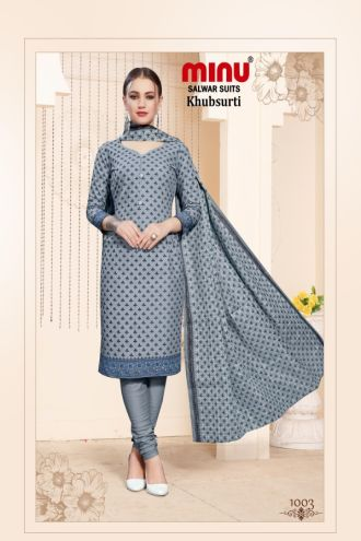 Minu Grey Cotton Printed Designer Fashionable Salwarsuit