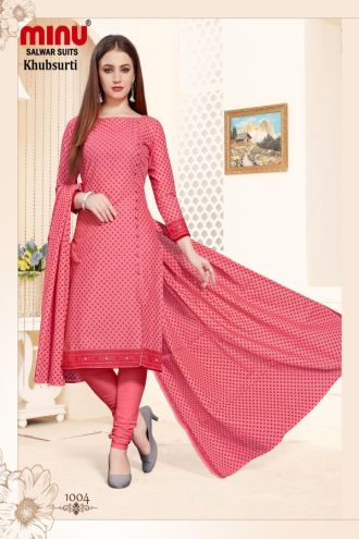 Minu Salmon Cotton Printed Designer Fashionable Salwarsuit