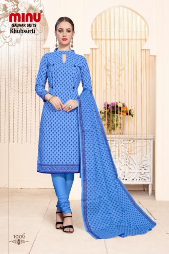 Minu Blue Cotton Printed Designer Fashionable Salwarsuit