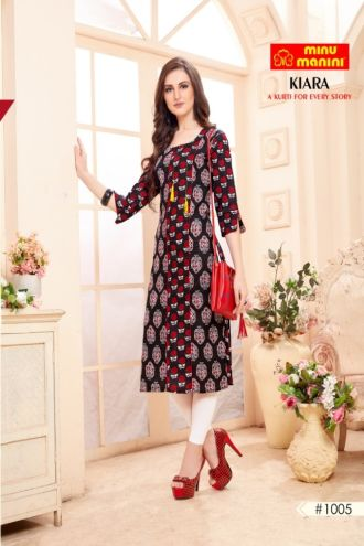 Minu Red Cotton Mix & Match Designer Long Kurtis Kurti