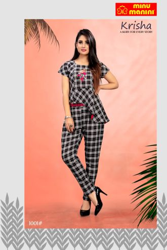 Minu Black And White Rayon Knitted Fabric Kurti