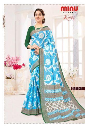 Minu Blue Cotton Digital Printed Sarees