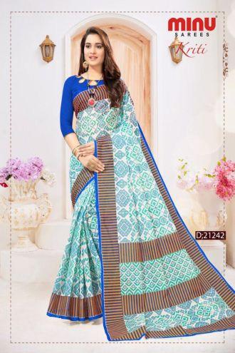 Minu Teal Blue Cotton Digital Printed Sarees
