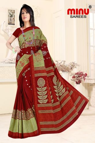 Minu Red Cotton Embroidered Sarees Sarees