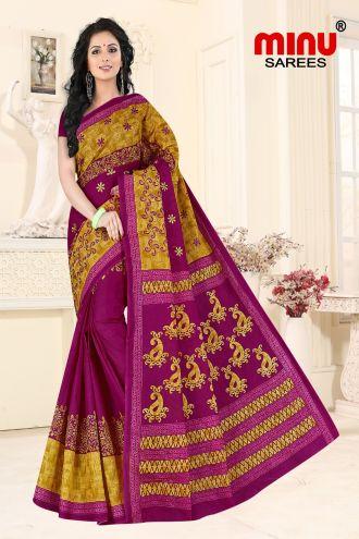 Minu Pink Cotton Embroidered Sarees Sarees