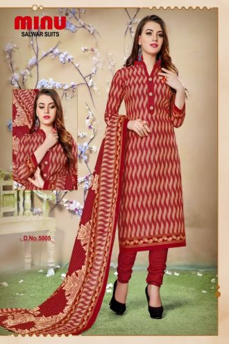 Minu Red Cotton Printed With Red Pattern Salwarsuit