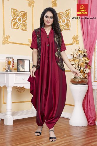 Minu Red Zorba Silk And Fancy Net Work Designer New Fashion Gown