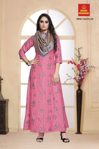 Minu Pink Dola Silk With Foil Print Designer Gown With Fancy Gown