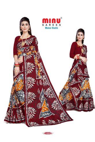 Minu Marron Cotton Batik Print Designer Pattern Sarees