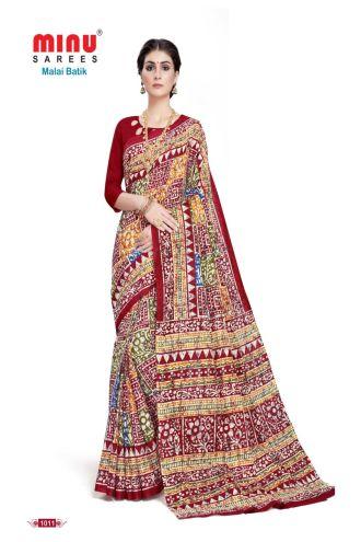 Minu Multi Cotton Batik Print Designer Pattern Sarees