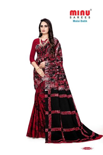 Minu Red Cotton Batik Print Designer Pattern Sarees