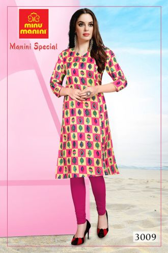 Minu Multi Premium Cotton Long Ethnic Wear Kurtis Kurti