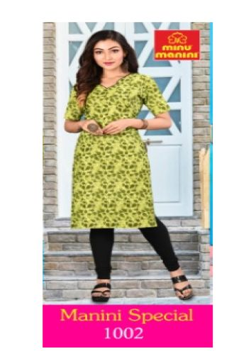 Minu Green Pure Cotton Designer Top Kurti