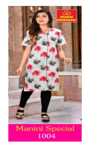 Minu White Pure Cotton Designer Top Kurti
