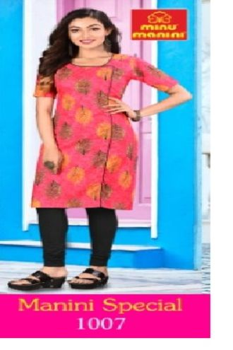 Minu Salmon Pure Cotton Designer Top Kurti