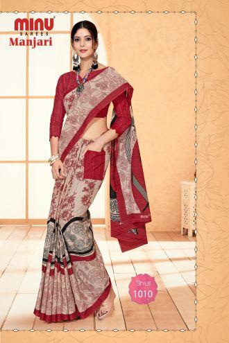 Minu Red Cotton Designer #Pocketsaree Sarees
