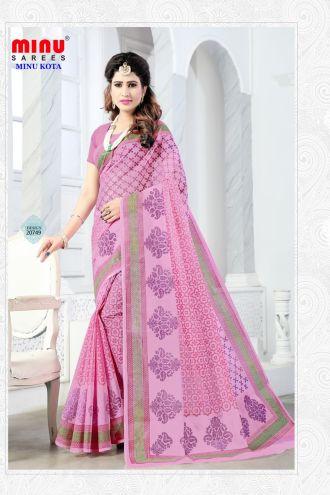 Minu Pink Cotton Kota Print With Blouse Peice Sarees
