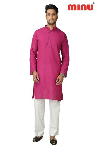 Minu Rani Pink Pure Cotton Kurta Exclusive Newly Launched Menswear